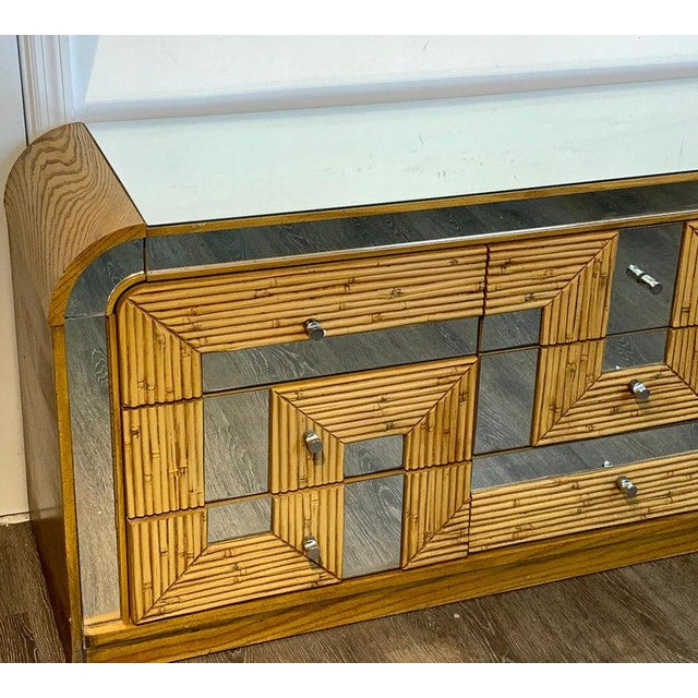 Mid 20th Century Fabulous Midcentury Mirror Inlaid Segmented Bamboo Dresser or Credenza For Sale - Image 5 of 12