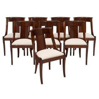 Empire Style Mahogany Gondola Dining Chairs - Set of 8 For Sale