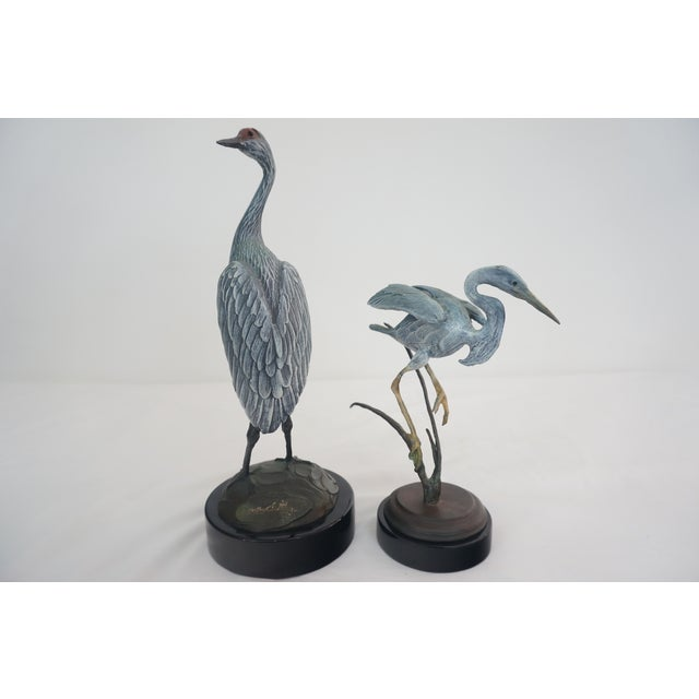 Bronze Crane and Heron Sculptures - A Pair - Image 3 of 7