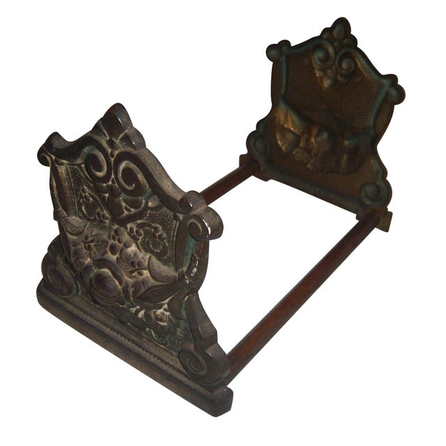 Victorian Expandable Ornate Brass Bookends - Image 1 of 11