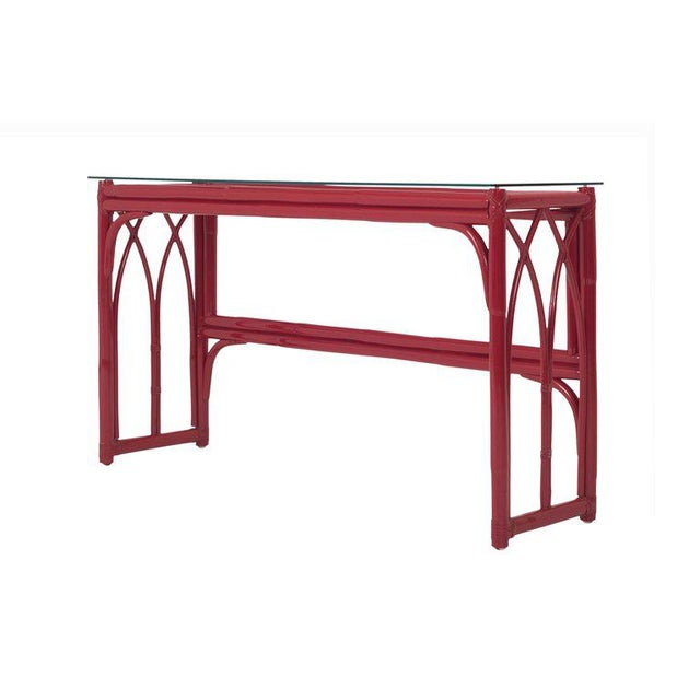 Wood Vanity Table With Large Mirror in Red Lacquered Bamboo For Sale - Image 7 of 13