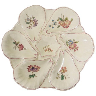 1900s French Majolica Flowers Oyster Plate For Sale
