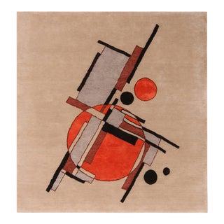 Rug & Kilim's Mid-Century Modern Style Geometric Beige Black and Orange Wool Custom Rug For Sale