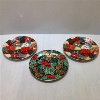 Fitz and Floyd Porcelain Christmas Plates - Set of 3 Preview