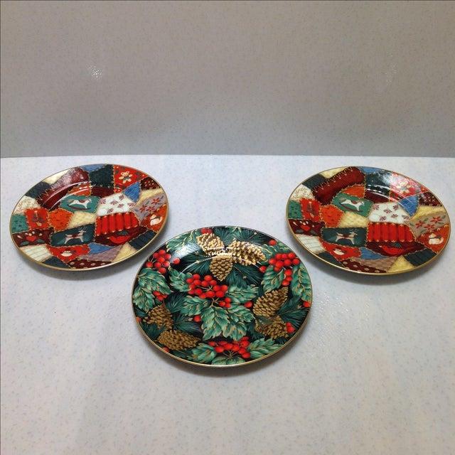 Christmas Plate Set.Fitz And Floyd Porcelain Christmas Plates Set Of 3