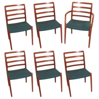 Set of Six Niels Moller Danish Dining Chairs For Sale