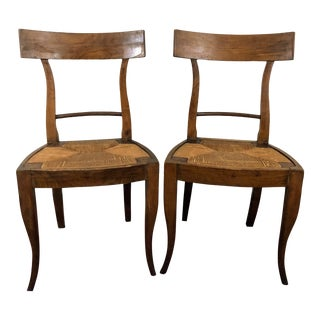 Antique Rush Seat Chairs - a Pair For Sale