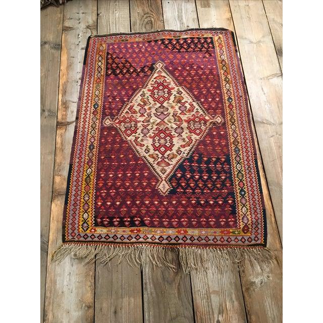 "Vintage Red & Purple Senneh Kilim - 3'4"" X 4'5"" - Image 2 of 9"