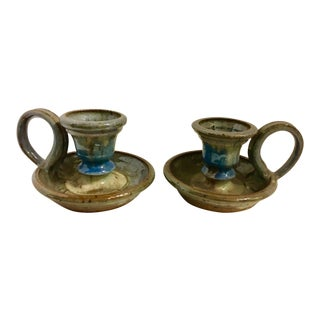Vintage Ceramic Candleholders With Handles - a Pair For Sale