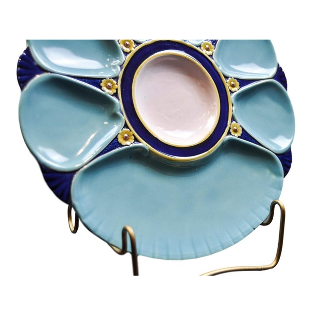 Minton Minton Majolica Oyster Plate For Sale - Image 4 of 11