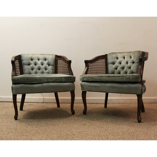 Cane & Tufted-Back Ladies Chairs - A Pair - Image 3 of 10