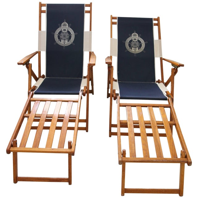 Oakwood Deck Chairs With Blue and White Upholstery - a Pair For Sale