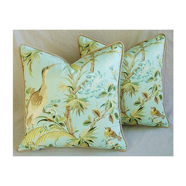 Tropical Egret & Floral Pillows - Pair - Image 2 of 8