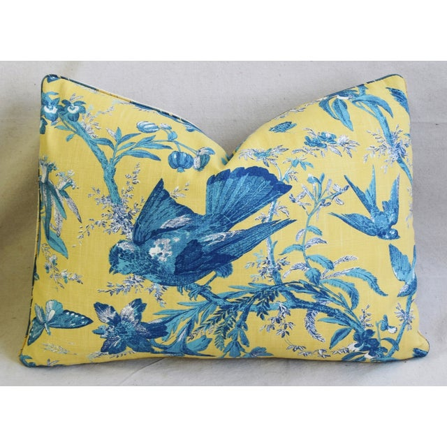"""Early 21st Century Summer Blue Birds & Butterflies Feather/Down Pillows 22"""" X 16"""" - Pair For Sale - Image 5 of 13"""
