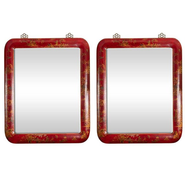 Chinoiserie Red Lacquered Mirrors - a Pair For Sale - Image 11 of 11