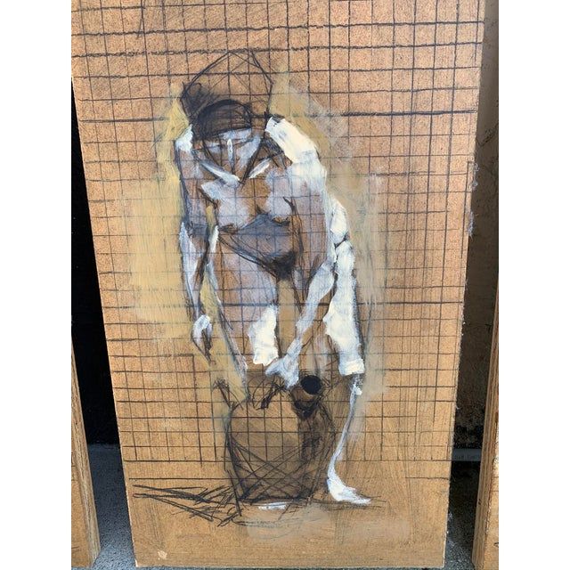 Original Nude Triptych, Mixed Media on Wood For Sale - Image 4 of 6