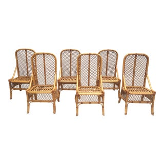 1970s Vintage Chippendale Style Rattan Bamboo Dining Chairs- Set of 6 For Sale