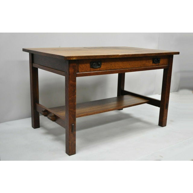 Antique L & JG Stickley Library Table Desk #531 One Drawer Mission Oak Arts & Crafts. Item features model #531 with...