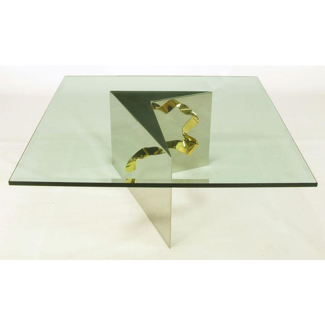 Custom Artisan Chrome, Brass, And Glass Coffee Table - Image 3 of 10