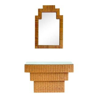 Boho Style Wicker Entryway Table and Mirror For Sale