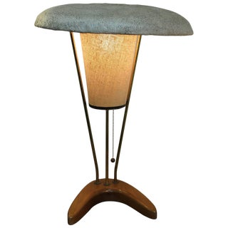 1950s Modern Table Lamp Spun Fiberglas Shade For Sale