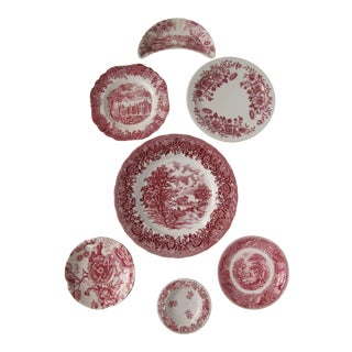Red Transferware Plates-7 Pieces For Sale
