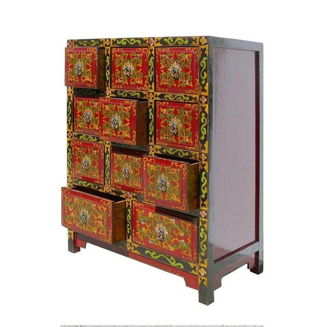 Oriental Tibetan Flower Graphic 11 Drawers Cabinet - Image 4 of 5