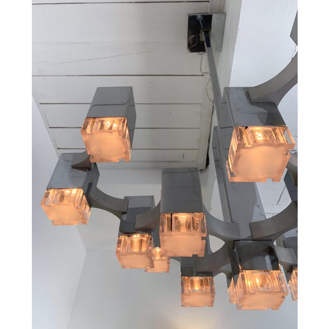 Chrome Chandelier Cubic by Sciolari, Italy, 1970s For Sale - Image 7 of 11