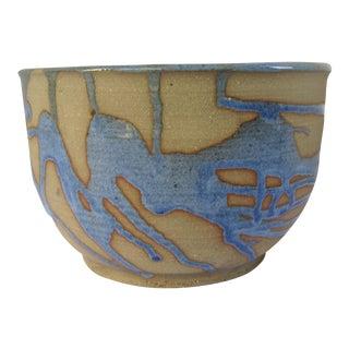 Vintage Handmade Blue & Tan Pottery Bowl For Sale