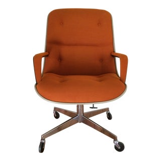 Vintage 1978 Steelcase Knoll Pollock Orange Twill Executive Swivel Arm Chair For Sale