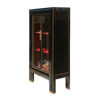 Black & Red Lacquer Glass Door Display Bookcase Preview