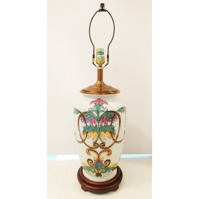 Vintage Crackle Glazed Chinoiserie Table Lamp - Image 2 of 4