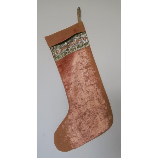 Traditional Vintage Velvet Christmas Stocking For Sale - Image 3 of 3