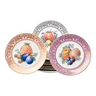 Mid 20th Century Continental Fruit Porcelain Plates - Set of 11 For Sale