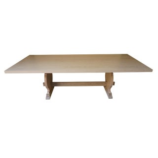 Manolo Basque Inspired Trestle Dining Table in Cerused Oak, Customizable