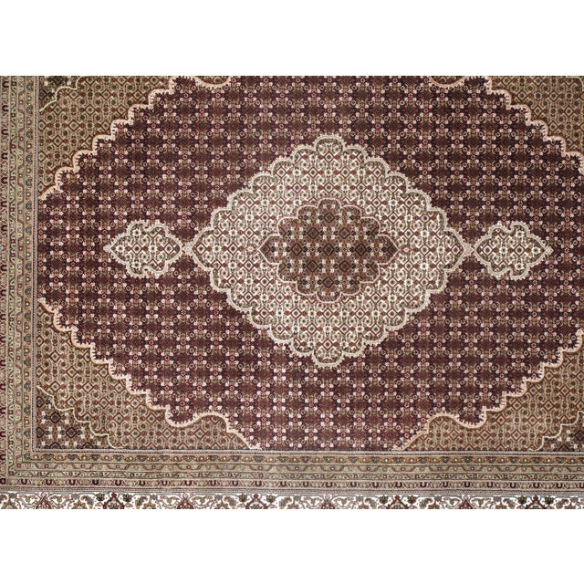 Pasargad N Y Fine Tabriz Mahi Design Silk & Wool Rug - 8′1″ × 10′4″ For Sale - Image 4 of 5