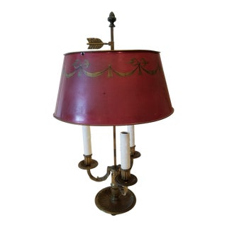 French Bouillotte Lamp With Red Shade For Sale