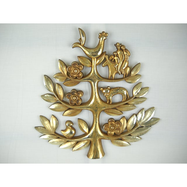"""A 1960s vintage gilded """"Tree of Life"""" resin plaque by Syroco. This piece has been extremely well-cared for and is in..."""