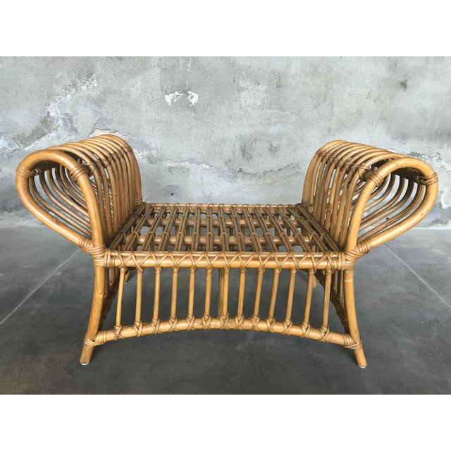 1980s Vintage Rattan Lounge Chair & Ottoman For Sale - Image 12 of 13