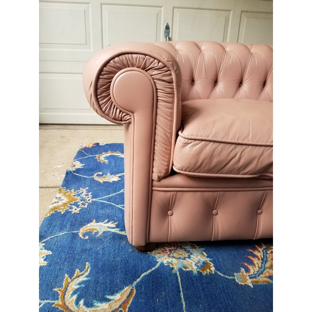 Vintage Mid Century English Chesterfield Leather Sofa For Sale - Image 4 of 13
