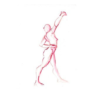 "Original Nude Figure Watercolor ""Red Twist Dancer"" by Michelle Arnold Paine For Sale"