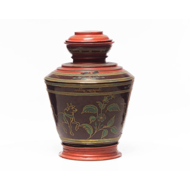 Traditional Antique Burmese Lacquer Ginger Jar For Sale - Image 3 of 7