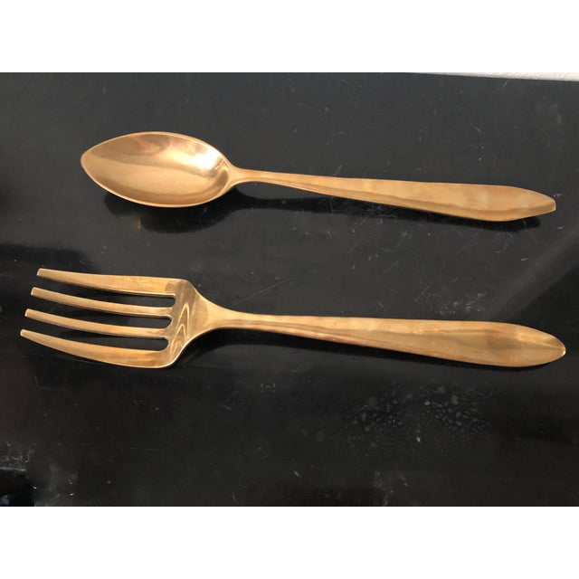 Vintage Bronze Over Size Spoon and Fork Wall Art - Set of 2 For Sale In Sacramento - Image 6 of 6