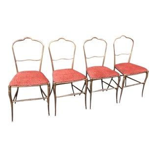 Set of 4 Designer Italian Cast Metal Cafe Chairs With Scalamandre Silk Velvet Cheetah For Sale