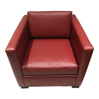 Modern Desiron Red Pebbled Faux Leather Club Chair For Sale