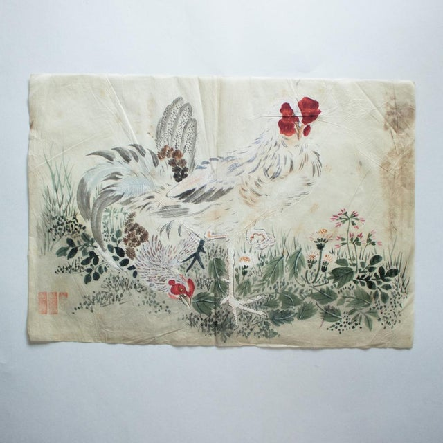 Late 19th Century Meiji Era Large Japanese Roosters Watercolor Painting For Sale - Image 10 of 13