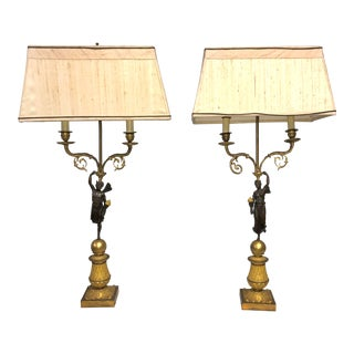 Pair of French Empire Period Gilt and Burnished Bronze Figural Candelabra For Sale
