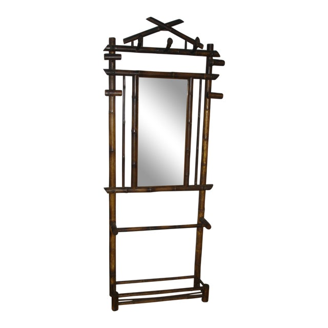 Late 19th Century Antique French Faux Bamboo Mirrored Coat Rack For Sale