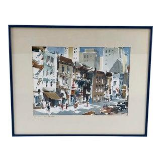 Framed Watercolor of Cityscape Chinatown San Francisco, Signed Werner For Sale