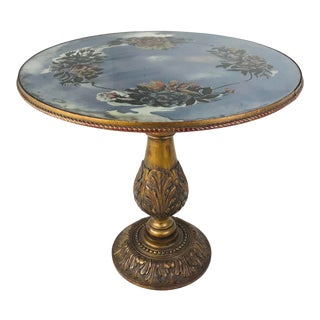 Eglomise Pedestal Table For Sale